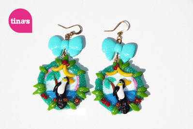 Earrings Toucan Landscape