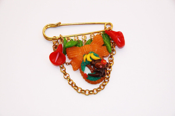 Multicharm Cernit, fimo Brooch Monkey landscape