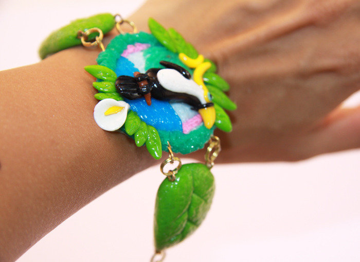 Bracciale fimo cernit Big Tucan Leaf