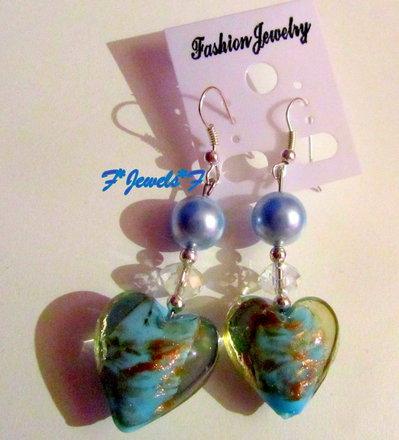 Orecchini Cuore Vetro Azzurri San Valentino