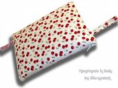 Zippered Wristlet Pouch Bag -- Cherry - by LeCoccole - red - white and green