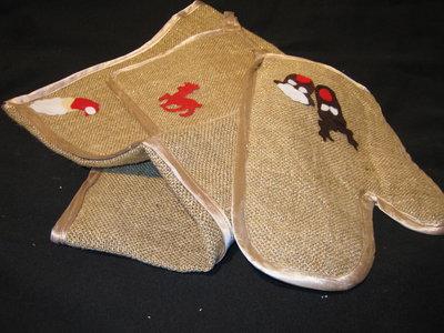 presine,guanti e strisce centrotavola natalizie