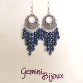 Orecchini chandelier Blu