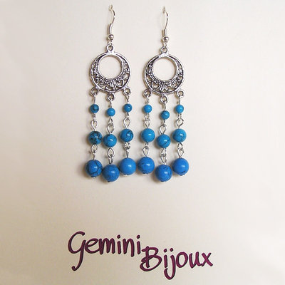 Orecchini chandelier turchese tre perle