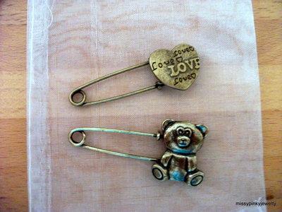 Spilla Vintage bronzo orsetto cuore love bear