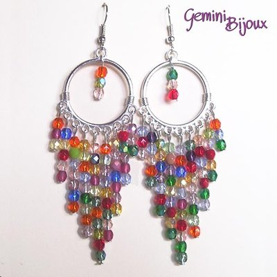 Orecchini chandelier colorati