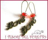 """Orecchini """"Love Rosso e Oro"""" Bronzo charm perle Idea regalo Natale 2012"""