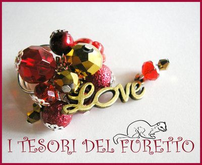 """Anello """"Love Rosso Oro"""" Bronzo perle idea regalo Natale 2012"""