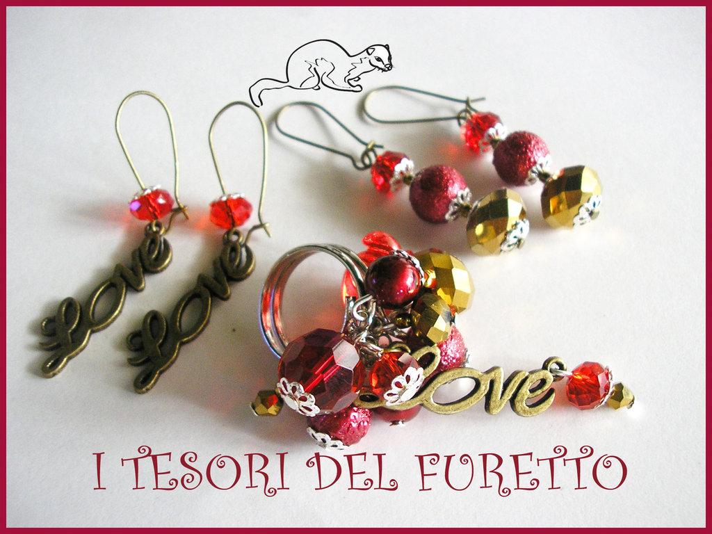 """Parure """"Love Rosso Oro"""" orecchini anello idea regalo San Valentino"""