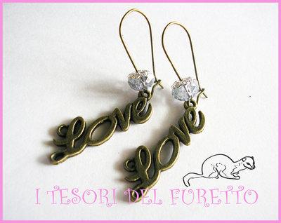 """Orecchini """"Love rosa Oro"""" bronzo idea regalo Natale 2012"""