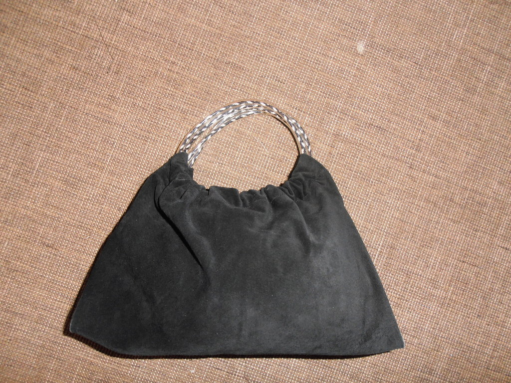 B9 borsa in pelle scamosciata nera--------black suede  handbag