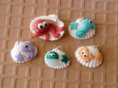 Ciondoli conchiglie con animaletti marini fimo