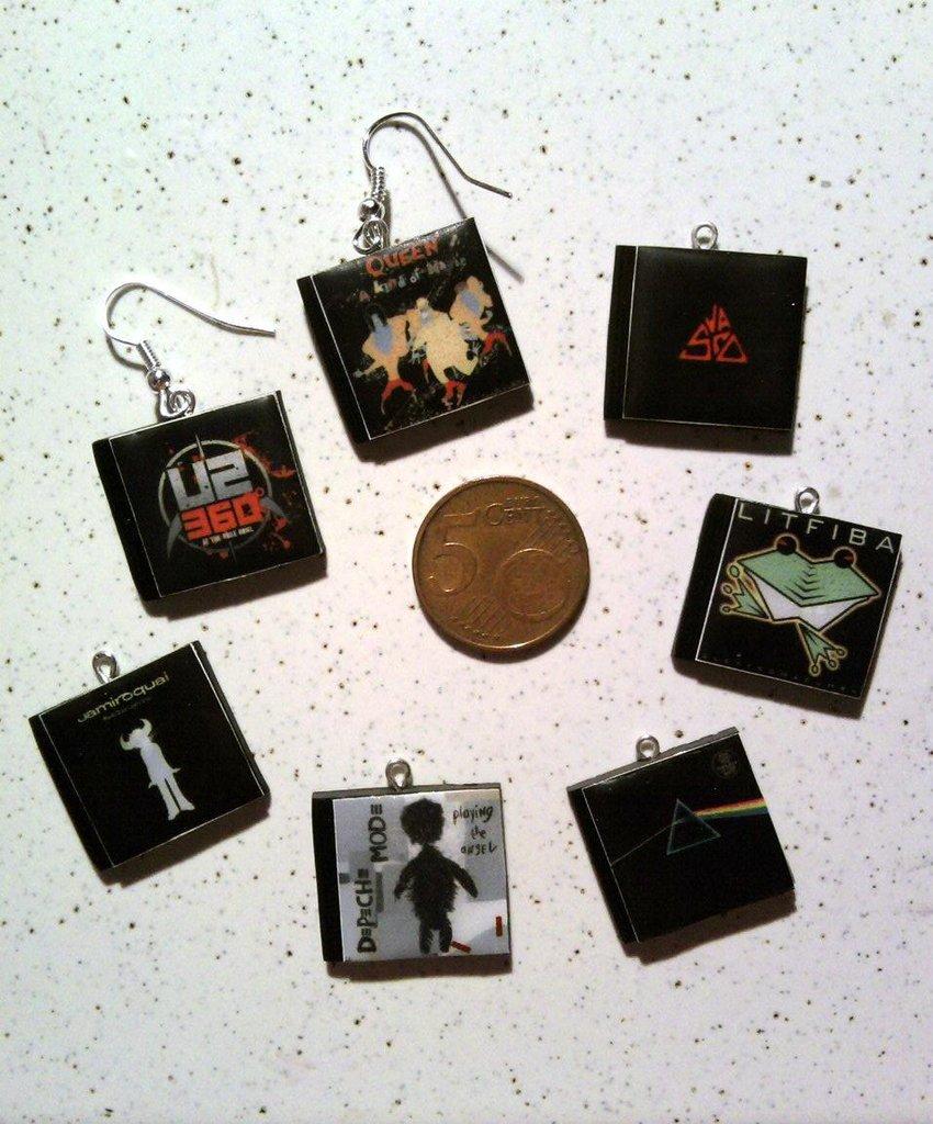 Orecchini con cd in miniatura in fimo