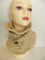 Versatile Creme/Heather Handmade Crochet Neckwarmer/Scarf