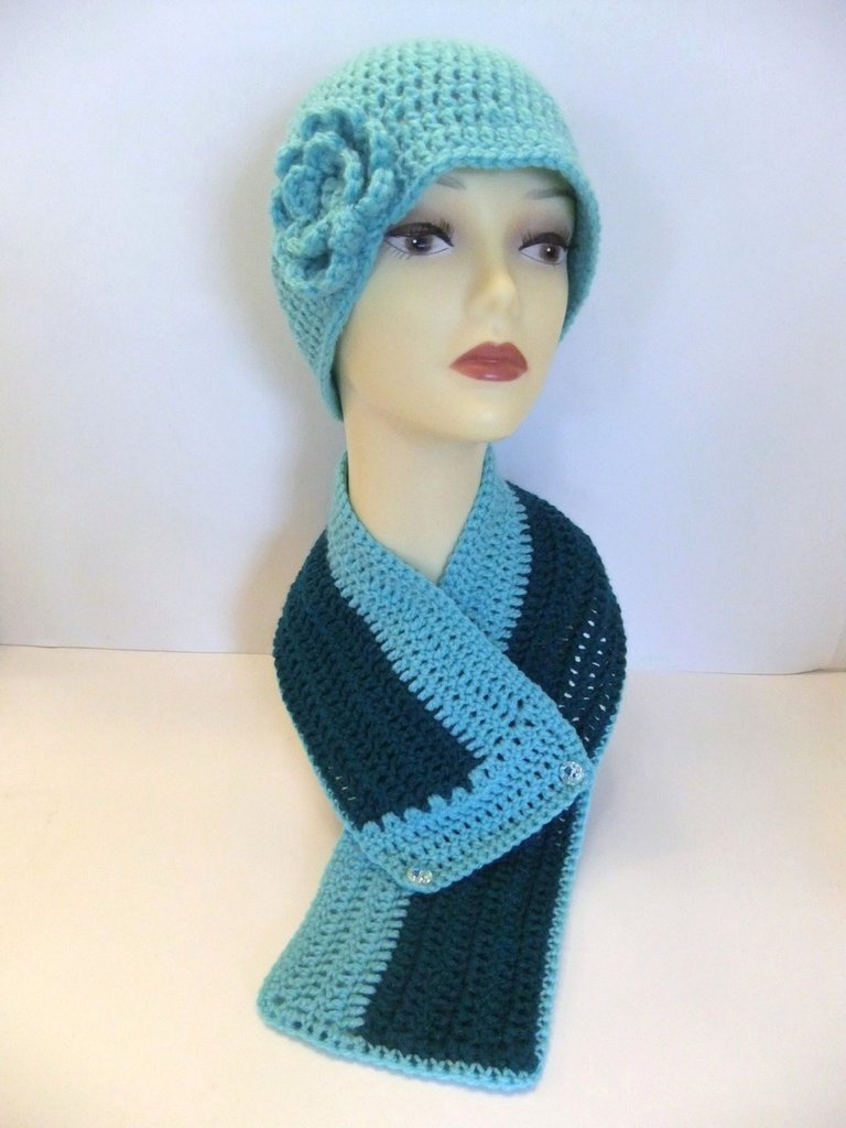 Women, Teal, Light Blue, Cloche, Crochet, Beanie, Hat, Flower, Scarf, Neck Warmer, Fashionable, Gift