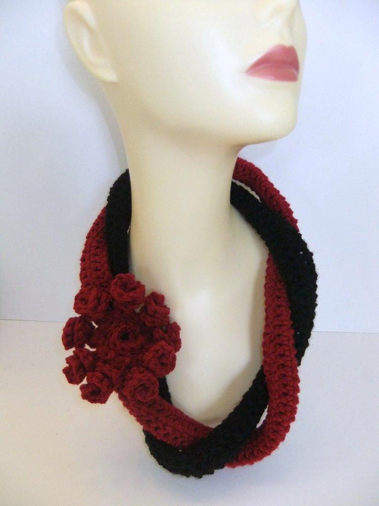 Red and Black Handmade Crochet Flower Necklace/Scarflette