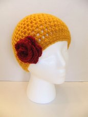 Handmade Crochet Beanie Hat, Gift, Red Flower, Gold, Accessory, Rose, Fashionable