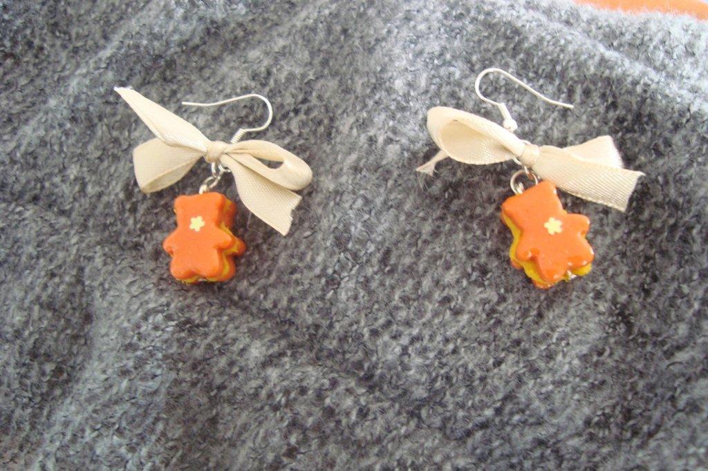 Orecchini orsetti arancio