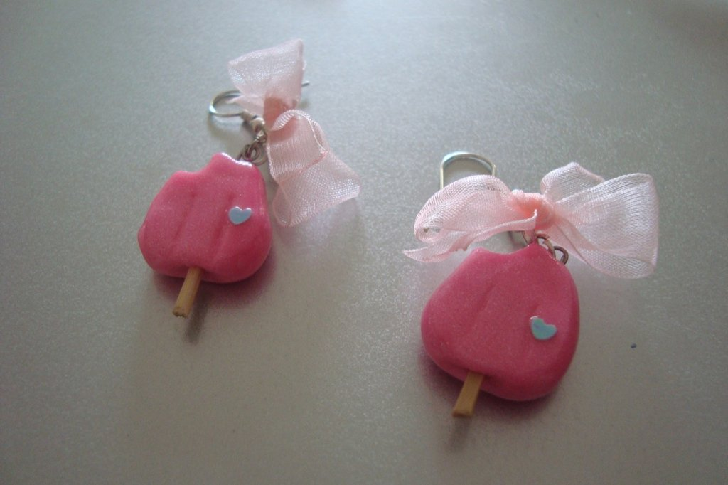 orecchini ghiacciolini rosa