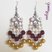 Orecchini chandelier tricolore