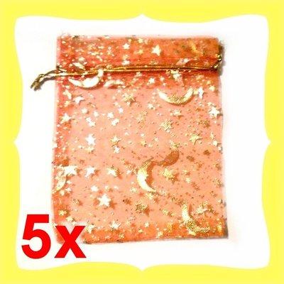 5 Sacchetti organza 9x12cm arancione