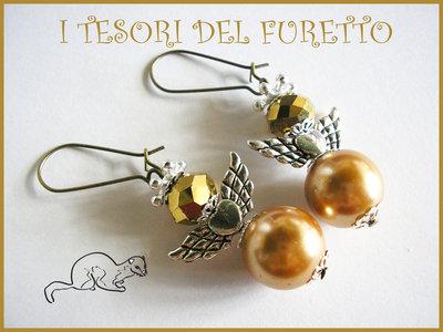 """Orecchini Serie """"Angioletti portafurtuna"""" angelo natale idea regalo Oro"""
