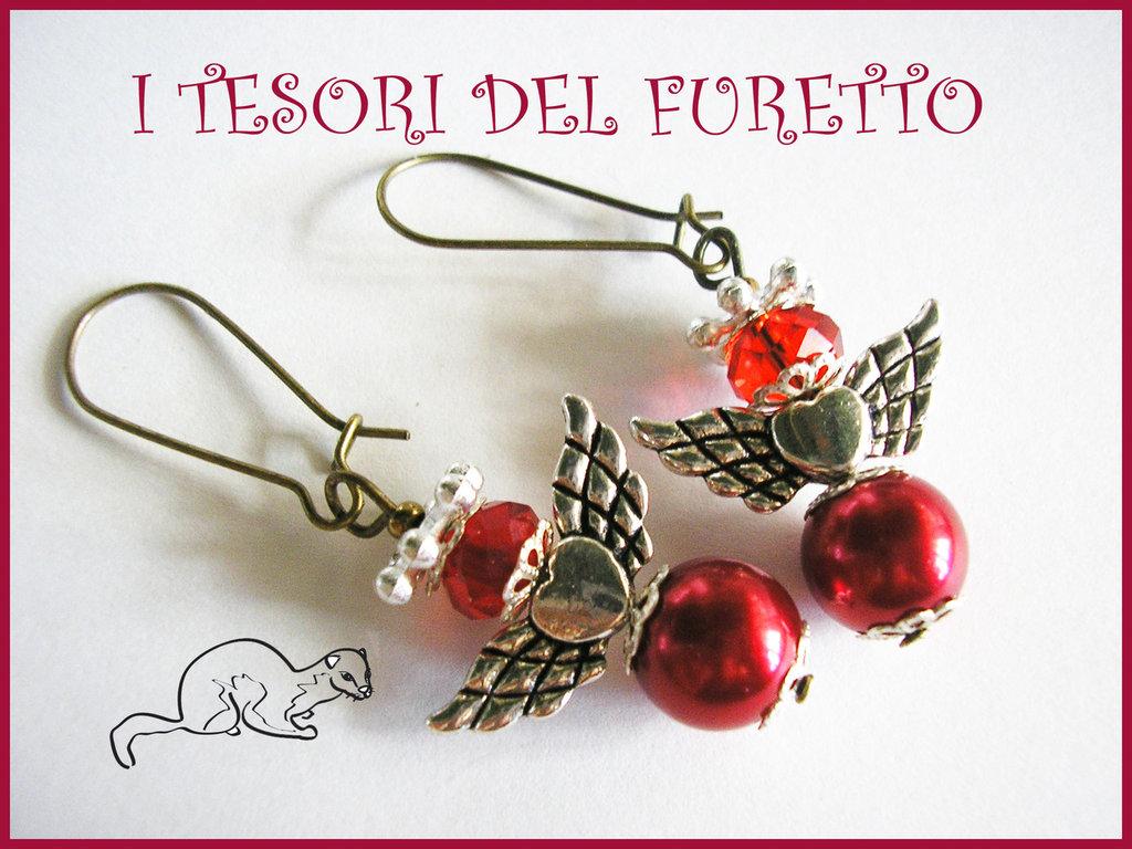 """Orecchini Serie """"Angioletti portafortuna"""" angelo natale idea regalo ROSSO"""