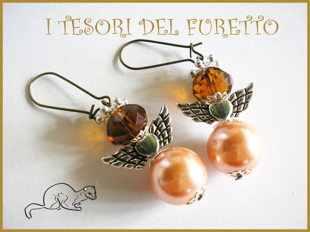 """Orecchini Serie """"Angioletti portafurtuna"""" angelo natale idea regalo AMBRA"""