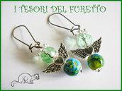 """Orecchini Serie """"Angioletti portafurtuna"""" angelo natale idea regalo Verde Turchese"""