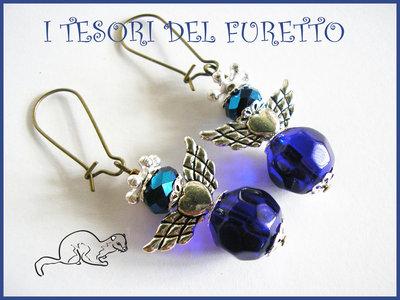 """Orecchini Serie """"Angioletti portafurtuna"""" angelo natale idea regalo BLU"""