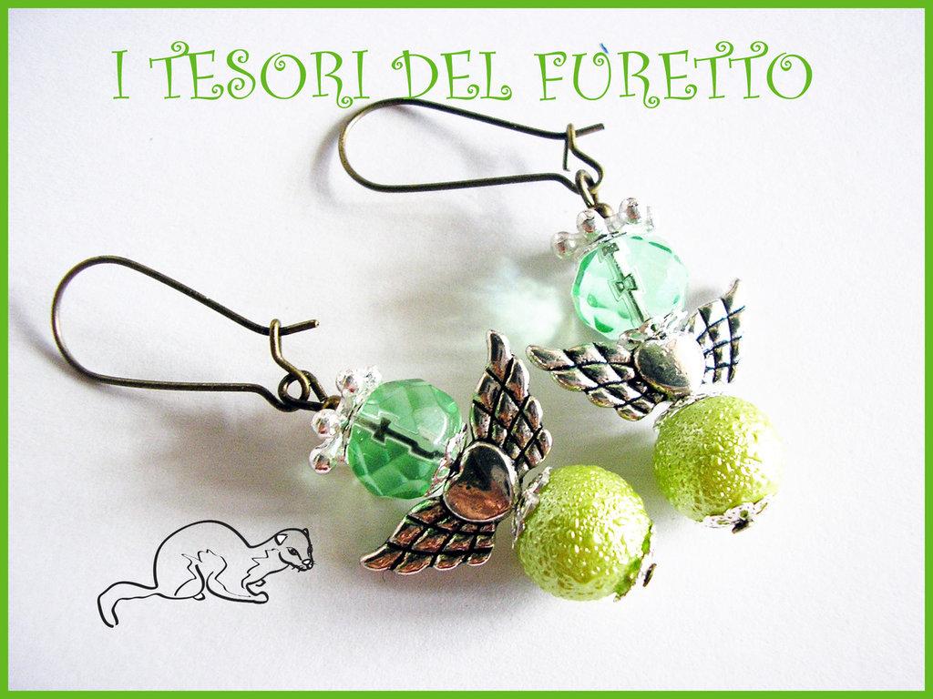 """Orecchini Serie """"Angioletti portafurtuna"""" angelo natale idea regalo verde Mela"""