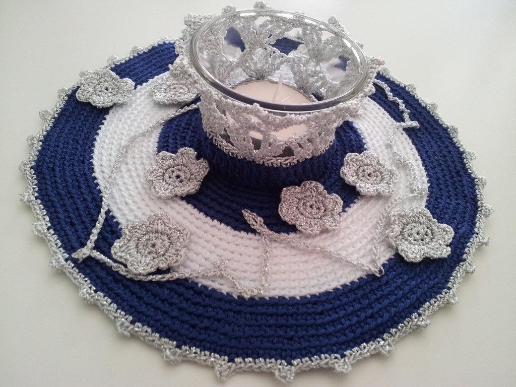 Porta tealight bianco e blu