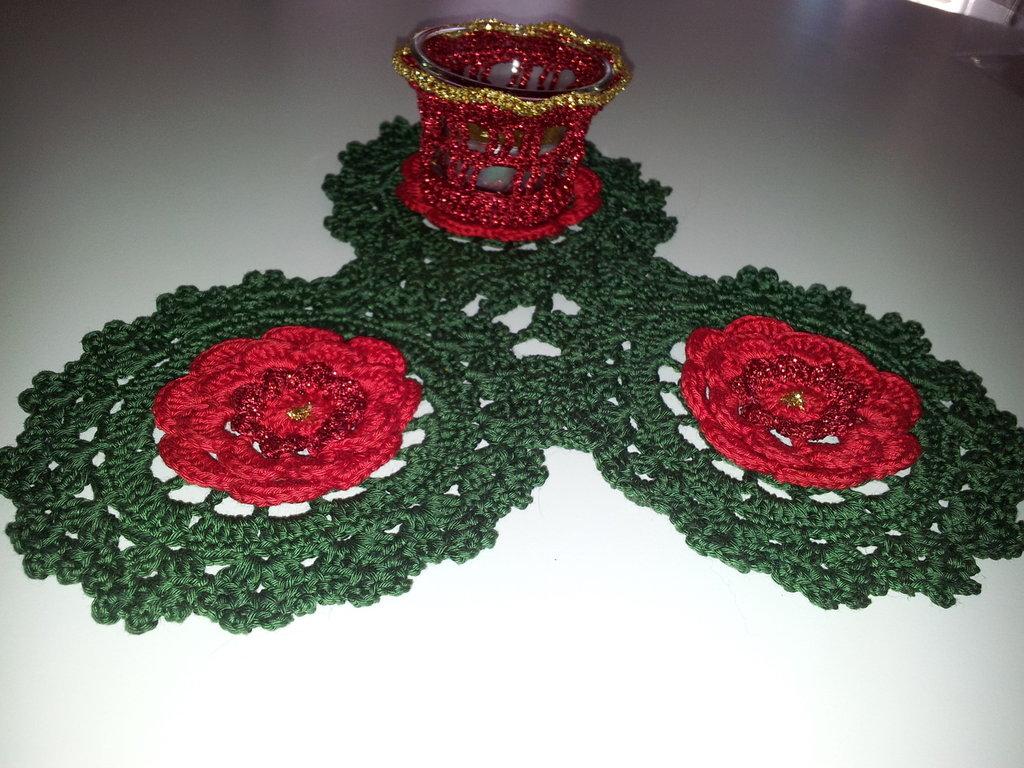 Porta tealight con 3 fiori