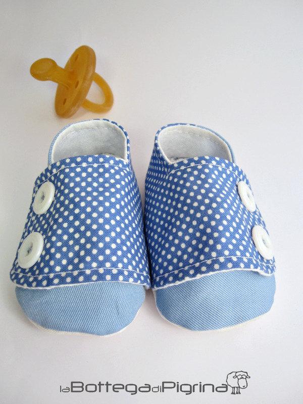 Scarpine per Bebè Azzurre con Pois
