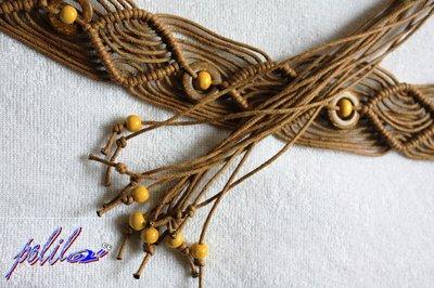 cintura macramé a rombi, beige con perline di legno e cocco