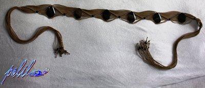 cintura macramé beige con perle di vetro-ceinture macramé avec perles de verre
