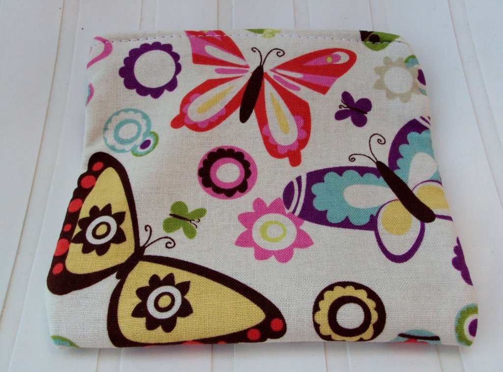 Astuccio in stoffa con farfalle, porta cellulare, iPod, mp3