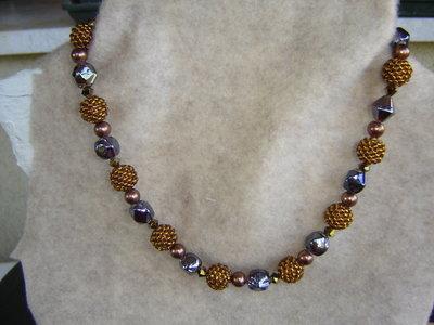 Collana bronze perle e swarovski