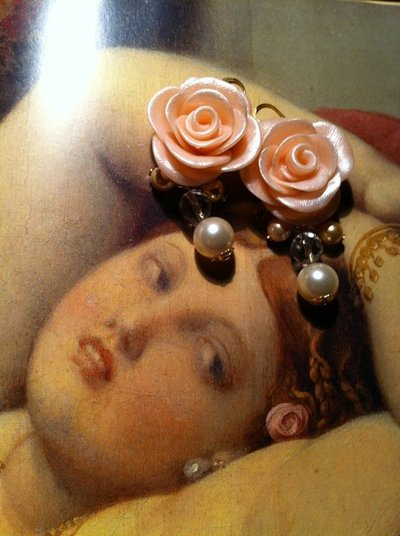 orecchini rose e perle