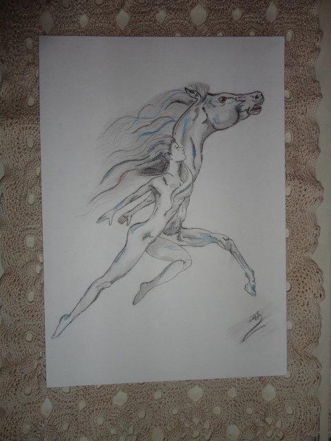 Disegno a matita fatto a mano ddt spirito libero per for Disegni di cavalli a matita