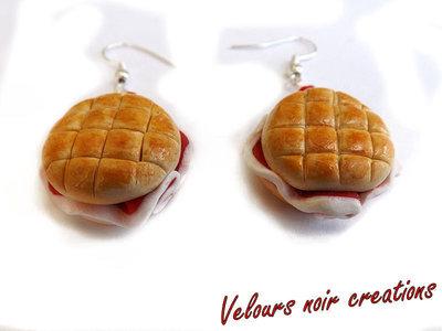 Orecchini panino rosetta con prosciutto in fimo