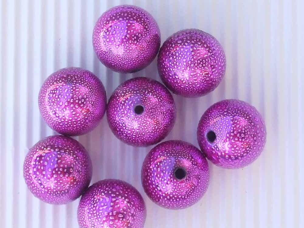 8 perle fucsia metallizzato 17mm vend.