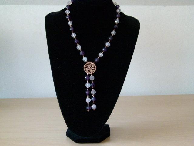 Collana in ametista, quarzo rosa e argento