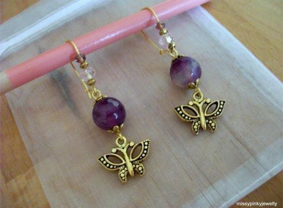 Orecchini Liberty farfalla oro agata viola