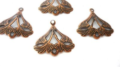 "Link filigranati ""Leaf"" in metallo, color rame anticato, Nickel free."