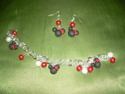 braccialetto + orecchini minnie fimo