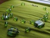 Collana di perle color verde