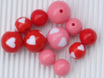 Lotto 10 perle cuore rosa e rosso vend.