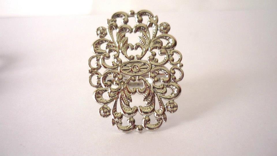 Base anello filigranata color argento regolabile