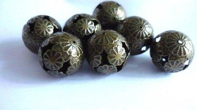 Perline filigranate in metallo, color bronzo anticato
